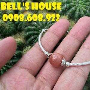 Vòng tay đá Mặt Trời Sunstone kết hợp Charm Bạc 925 đơn giản, vòng tay đá thiên nhiên Bells House TPHCM,