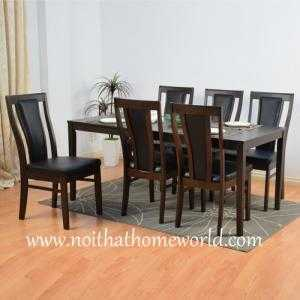 Bộ bàn ăn gỗ cao su ghế bọc nệm sang trọng- hàng xuất khẩu Nhật- mã số HW360-6C- Nội thất Homeworld