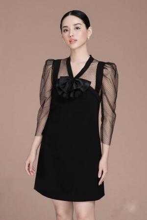Đầm suông tay phối lưới bi đính nơ