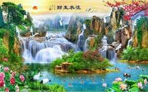 tranh 3d sông nước làng quê
