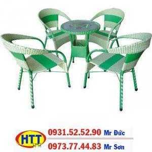 Bàn ghế cafe nhựa giả mây giá tốt nhất HTT0110