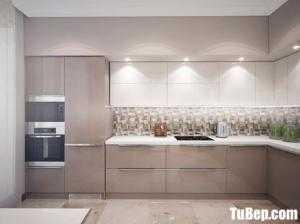 Tủ bếp Acrylic bóng gương kết hợp bàn ăn xinh xắn – TBN0160