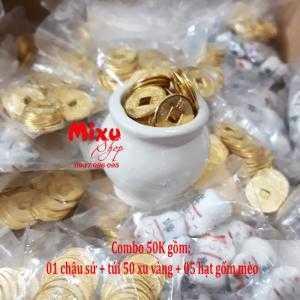 01 chậu sứ + 50 xu vàng + 05 hạt gốm mèo