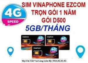 Sim Vinaphone D500 trọn gói 1 năm (5Gb t