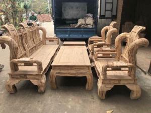 Bộ bàn ghế giả cổ tần thủy hoàng gỗ mun da báo