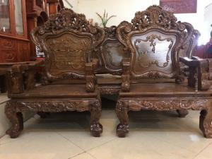 Bộ bàn ghế kiểu louis pháp gỗ mun đuôi công