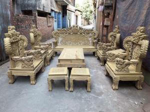 Bộ bàn ghế đồng kỵ kiểu nghê đỉnh tay khuỳnh gỗ cẩm vàng