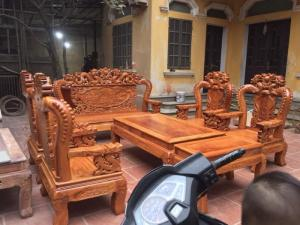 Bộ bàn ghế giả cổ rồng bát tiên gỗ cẩm vàng