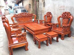 Bộ bàn ghế đồng kỵ rồng bát tiên gỗ hương đá