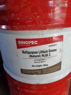 Mỡ chịu nhiệt Sinopec Lithium Grease NLGI 3 phuy 180Kg