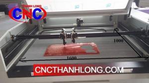 Máy laser 1610 - 2 đầu,  máy laser cắt khắc mica, vải, giấy, gỗ mdf...cnc Thành Long