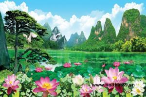 Tranh gạch 3D sông núi hoa sen