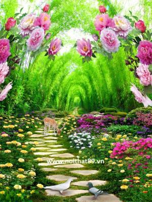 Tranh gạch men vườn hoa