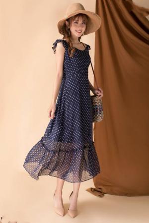 Đầm maxi chấm bi lai bèo