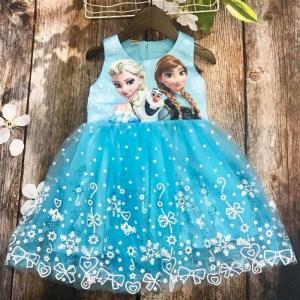 Váy elsa màu xanh cho bé 8kg- 17kg vcc01