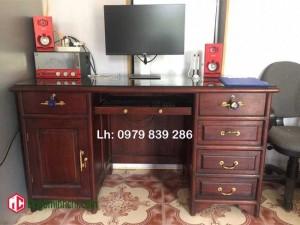 Bàn máy tính nhiều ngăn gỗ gụ hàng dầy