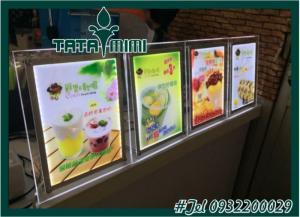 Bảng menu khung nhôm có đèn Led gắn tại các cửa hàng đồ ăn nhanh