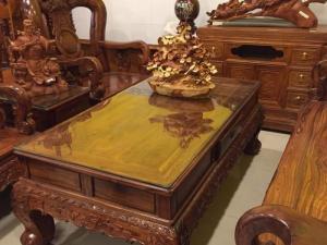Bộ bàn ghế cẩm lai tay 14, 06 món chạm đào đẹp