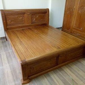 Giường ngủ đôi chữ X đục hoa hồng giường gỗ cẩm vàng  Đồ Gỗ Mạnh Tráng miễn phí vận chuyển