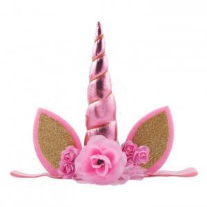 Băng đô cho bé gái sừng kỳ lân đính hoa trang trí lễ hội