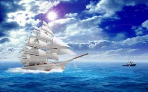 Tranh gạch 3d phong thủy thuận thuận buồm
