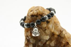 Vòng tay đá thiên nhiên Obsidian kết hợp charm Mèo Thần Tài may mắn, Bạc 925,