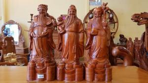 Tam đa ( Phúc Lộc Thọ ) gỗ Hương cao 50cm