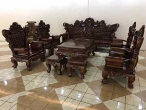 Bộ Bàn Ghế Phòng Khách Hoàng Gia Gỗ Mun Đuôi Công