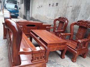 Bàn Ghế Phòng Khách Minh Quốc Voi Gỗ Hương Tay 12