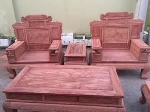 Bàn Ghế Phòng Khách Phù Dung Gỗ Hương Đá