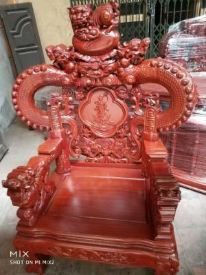 Bàn Ghế Phòng Khách Nghê Đỉnh Tay Khuỳnh Gỗ Hương Đá