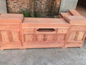 Kệ tivi mõ lõm gỗ hương đá