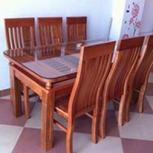 Bàn ghế ăn 2 tầng gỗ trẹo