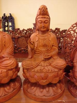 Tượng Phật Tam Thế Phật Hào Quang Gỗ Hương Cao 40-TTP01A