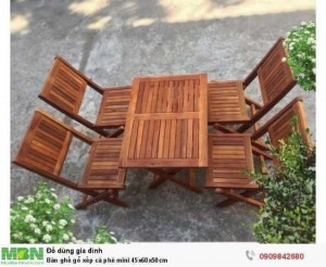 Bàn ghế gỗ xếp cà phê mini 45x60x50cm