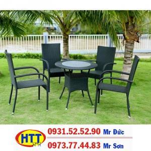 Bàn ghế nhựa giả mây thanh lý rẻ HTT012