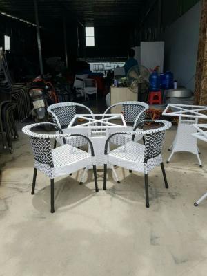 Bàn ghế cafe nhựa giả mây giá rẻ tại hcm 022