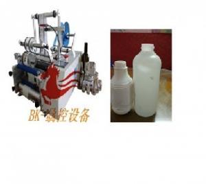 Máy dán nhãn decan bán tự động BK 311, máy dán nhãn chai tròn hai mặt bán tự động