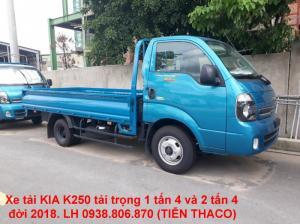 Bán xe tải KIA k250 thùng lửng tải trọng 2490kg, đời 2018
