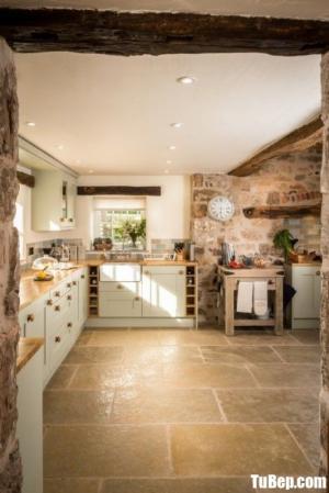 Tủ bếp gỗ Sồi sơn trắng sang trọng kết hợp bàn đảo – TBN0174
