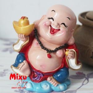 Tượng Phật Di Lặc Cầm Thỏi Vàng 9cm