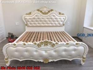Đặt mua bộ giường ngủ cổ điển màu trắng cao cấp ms 263 giá rẻ tại xưởng, chiết khấu cao cho cửa hàng