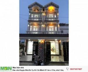 Bán nhà Huyện Nhà Bè Tp Hồ Chí Minh DT 4m x 17m, nhà 3 lầu, sân thượng