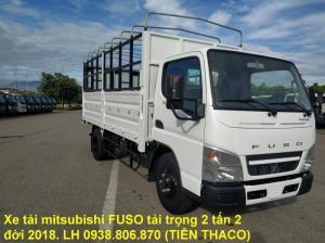 Bán xe tải Nhật Bản Mitsubishi FUSO canter thùng mui bạt bửng tải trọng 2 tấn 2, đời 2018.