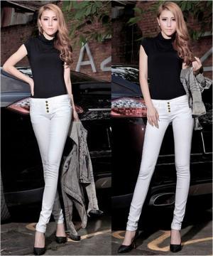 Quần jean lưng cao màu trắng (QD191)