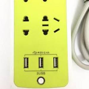Ổ cắm điện xanh lá tích hợp 3 cổng USB