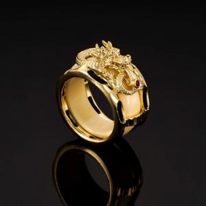 Nhẫn lông voi mạ vàng chạm rồng nỗi mã