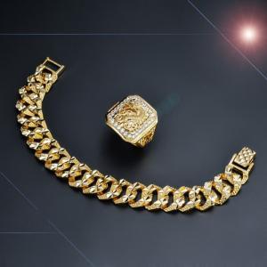 Combo nhẫn + lắc tay mạ vàng cao cấp