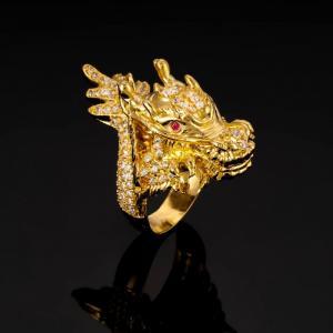 Nhẫn nam đầu rồng mạ vàng cao cấp