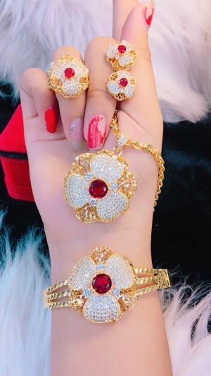 Bộ trang sức mạ vàng cao cấp hoa 3 cánh